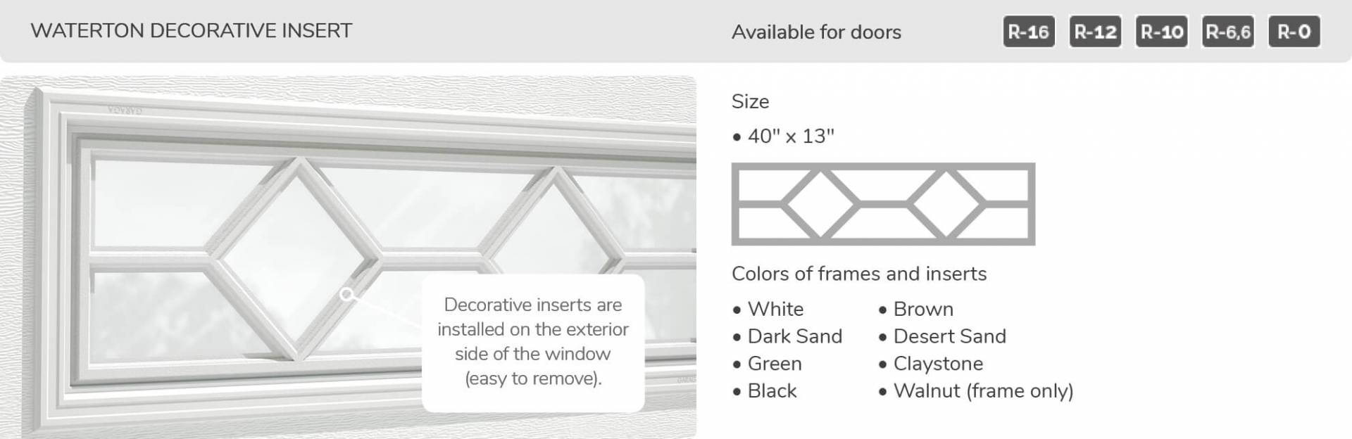 "Waterton Decorative Insert, 40"" x 13"", available for doors R-16, R-12, R-10, R-6.6, R-0"