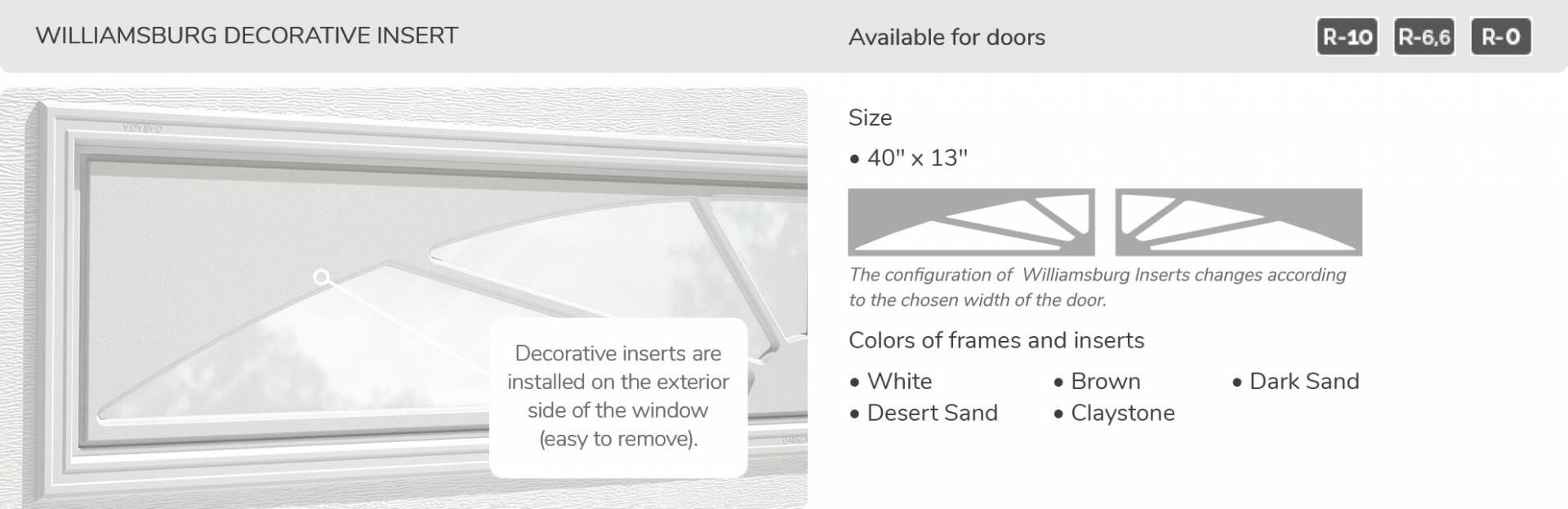 "Williamsburg Decorative Insert, 40"" x 13"", available for doors R-10, R-6.6, R-0"
